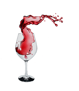Glass of red wine with splash